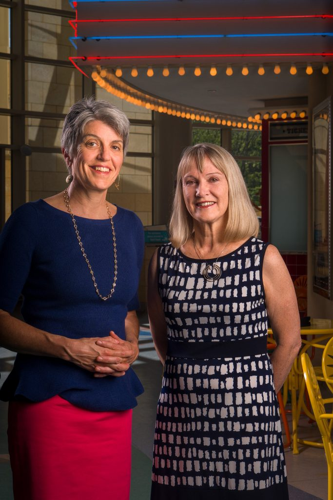 "Medical school classmates Gail Allen, MD (left), and Elizabeth Neary, MD, shared a pediatrics residency to be able to maintain work-life balance, which Neary describes as ""more like a seesaw effect."""