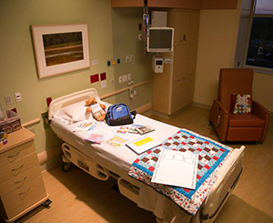 A bed in the new Universal Care Unit.