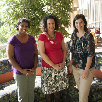 From left: Third-year medical student Jasmine Zapata; clerkship director Angela Veesenmeyer, MD, MPH; third-year medical student Heather Lukolyo.