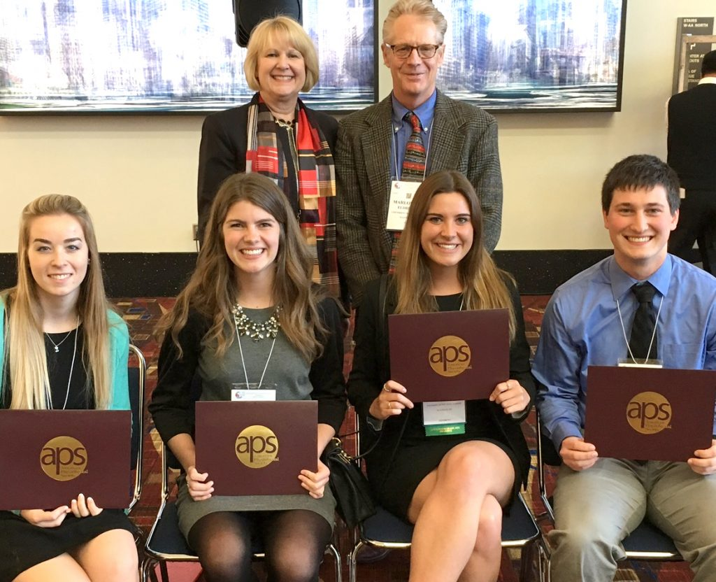American Physiological Society Past-President Jane Reckelhoff, PhD, with Dr. Eldridge and the four students from his lab who received APS Bruce Awards in 2017. Students, from left: Lauren Vildberg, Melissa Brix, Hannah Yoder and Ryan Centanni.