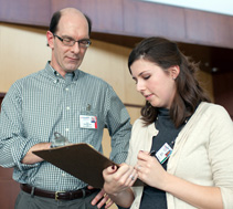 The program has strong connections with Department of Pediatrics faculty, such as David Wargowski, MD, shown here with Sarah Hamilton.