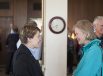 Patricia Kokotailo, MD, MPH, chats with Ellen Stephenson at the reception.
