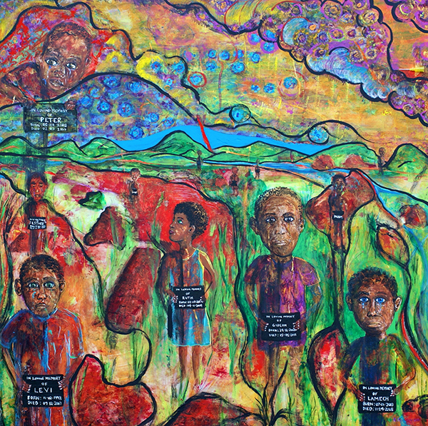 "Dr. McAdams' painting The Orphans honors AIDS orphans in Zambia. It and an accompanying poem ""Baby Cephas"" were published in the September 2014 issue of Academic Medicine."