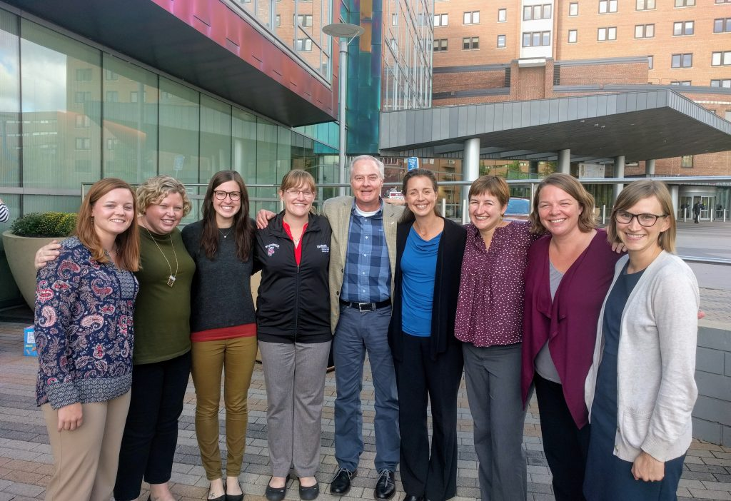 The UW Department of Pediatrics delegation at the Midwest Consortium of Global Child Health Educators annual meeting in October. From left: Chelsea Schaack; chief resident Katy Miller, MD; resident Christina Amend, MD; Andrea Jones, MD; James Conway, MD; Nicole St. Clair, MD; Laura Houser, MD; Sabrina Butteris, MD; Sarah Webber, MD