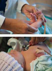 During the POX screen, Dr. Goetz places probes on a newborn's foot and hand to measure oxygen saturation.