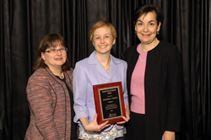Endocrinology fellow Jennifer Rehm, MD (center), won the Society for Pediatric Research's (SPR) 2011 Clinical Research Award. With her are award sponsor and project PI Ellen Connor, MD (left) and SPR President Maria Britto, MD, MPH (right).