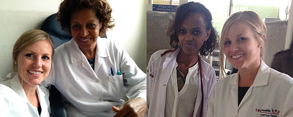 While in Ethiopia, Halie Anderson, MD, worked with Dr. Muluwork Tefera (left) and Dr. Tigist Bacha (right), clinical supervisors and affiliate faculty at Addis Ababa University.